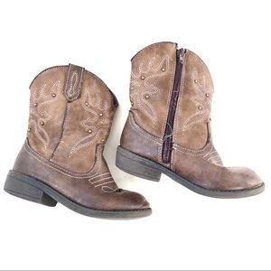 Nina brown pink embroidered cowgirl boots 9